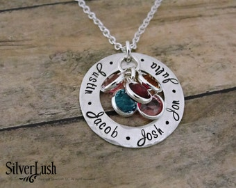 Sterling Silver Mother's Necklace with Five Names & Birthstones