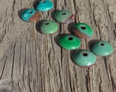 Handmade Enamel on Copper Beadcaps, Enameled Copper Bead Caps, Rustic Copper Beadcap Findings, Green, Turquoise, Set of 8, 12mm (101401)