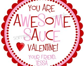 Valentines Day Stickers, Awesome Sauce, Boys Valentine Stickers,  Girls,Hearts,Red