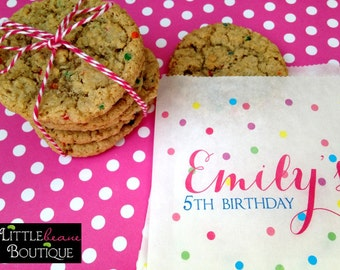 Personalized Cookie bags, Sprinkle cookie bags, Rainbow, favor bag, Cookie bags,  Birthday party, Sweets, Treat bags