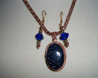 Blue goldstone and copper set