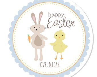 Personalized Stickers -- Chick and Bunny -- Personalized Labels, Personalized Easter Stickers, Personalized Book Label -- Choice of Size