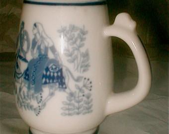 Norwegian Porcelain Mug Christmas 1970 Mug - Porsgrunds Porselaenstabrik - On the Road to Bethlehem - Mary and Joseph Travel to Nativity