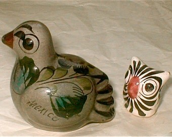 Turtle Dove and Owl - Mexican Folk Art - Vintage 60s Tonala Ceramic Birdie Ornament -  Made in Mexico Painted  Birds