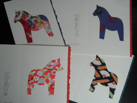 Handmade Japanese vintage silk Dala horse  greeting cards - set of 4