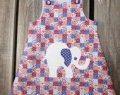Baby dress in size 6 to 12 months/ white elephant/ hand appliqued/ made from vintage reclaimed fabrics/ Eco wear/ earth friendly