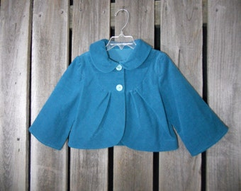 Girls jacket in size 5/6 (made from reclaimed baby corduroy and vintage reclaimed buttons) teal/ photo fashion/ Eco wear for kids/ retro