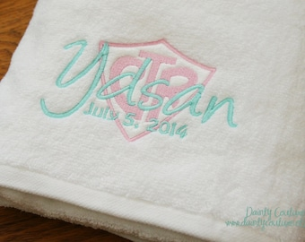 CTR Baptism Towel - Pink and Aqua - LDS gift - Personalized Towel