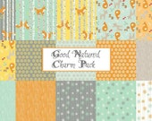 Fabric, Precut Fabric, Good Natured, Foxes,  Charm Pack, Riley Blake Fabric,   Five Inch  Squares, CLOSEOUT SALE