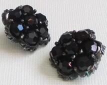Vintage Sherman Earrings, Black Crystal Earrings, Cluster Earrings, Sherman Jewelry, Black Crystal Beads, Mad Men Jewelry