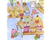 PRINT of CakeSpy artwork 8x10 Sweet treats in the cafeteria