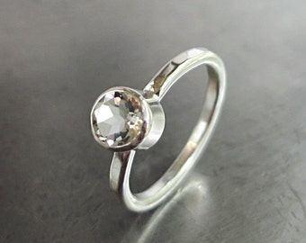 White Topaz ring, Sterling Silver,  ice clear gemstone, Winter Ice