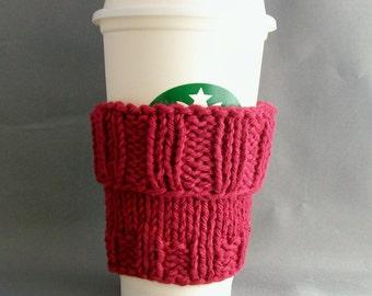 Burgandy Coffee Cup Sleeve with Bonus Handmade by me Muslin Drawstring Bag Cotton Knit Eco Vegan Friendly Gift under 20