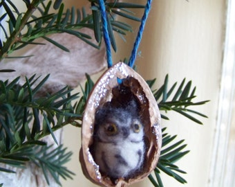 Needle Felted Owl in Walnut Heirloom Ornament-Grey Screech Owl