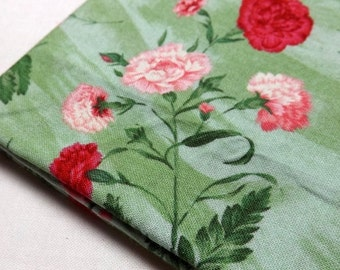 FQ, Pink and Red Carnations, Green Fabric, Fat Quarter, Northcott Fabric, Fabric for Quilting, Ro Gregg Fabrics, Flower of the Month Club