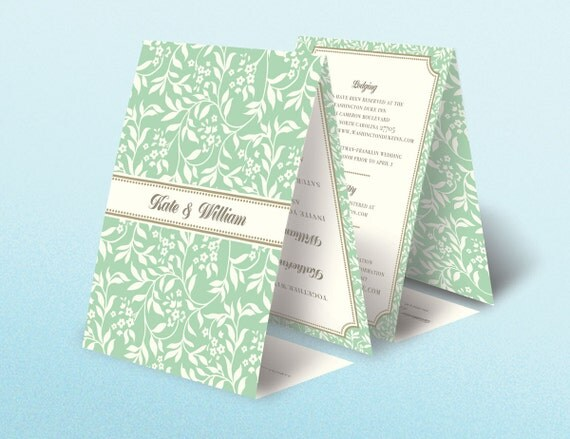 100 Seal and Send All in One Tri Fold Classic Floral Vintage Traditional Damask Wedding Invitations