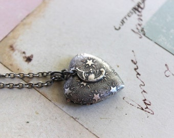 stars and moon. heart locket necklace. in silver ox smaller version