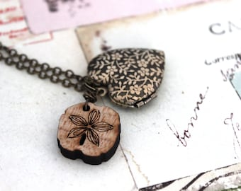 flower vine heart. locket necklace. brass ox jewelry with wood flower charm
