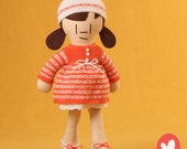 Little People Doll - Handmade Cloth Doll - Girl