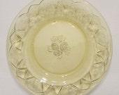 Six Amber Depression Glass Cake Plates - Federal Rosemary Dutch Rose