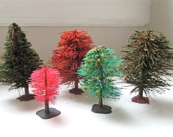 Vintage Miniature Trees - Set of 5 - Holiday Decor - Model Railroad - Bottlebrush