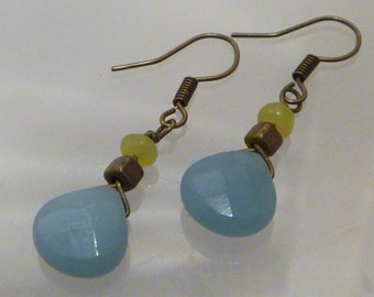 Light blue amazonite, brass and olive jade drop earrings