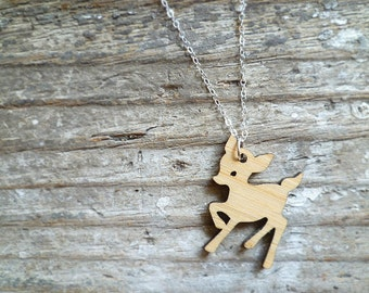 Wood Fawn Pendant with Sterling Silver Chain