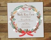 winter wreath shower invitation, printable, christmas wedding shower