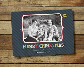 Bright modern Christmas card, photo card
