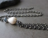 Black  Gemstone Tassel  Necklace,Sparkly Pyrite Necklace,  Baroque Pearl Necklace, Wire wrapped,  Bohemian