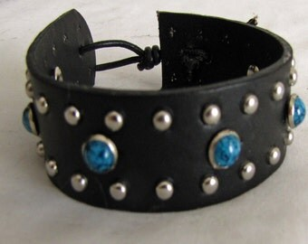 Leather Wristband in Black with Metal and Turquoise Rivets for Men Woman and Teens