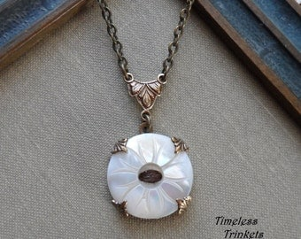 Antique Mother of Pearl Button Necklace, Daisy- Cocoa