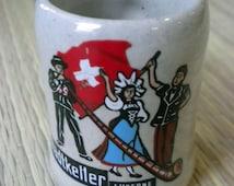Mini stein souvenir from Lucerne Switzerland with Swiss flag, Alphorn