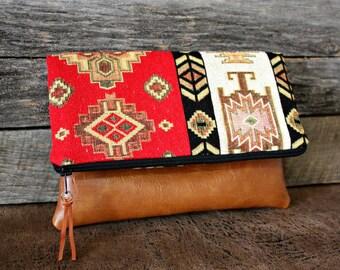 Southwestern Tribal Style Fabric Upholstery Foldover Clutch