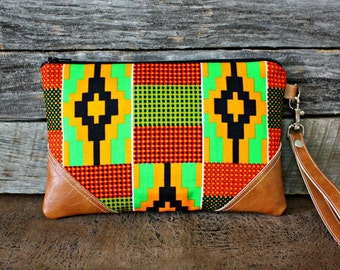 Aztec Wristlet / Clutch / African fabric