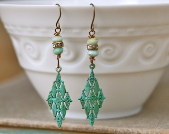 Jess. bohemian art deco verdigris green dangle earrings. Tiedupmemories