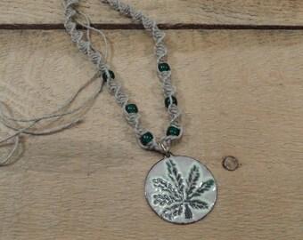 Hemp Necklace Copper enamel 420 hemp pendant / leaf maryjane / off white green