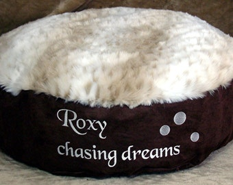 "Chasing Dreams - Round Pet Bed- 13"" sides - Snow Leopard Faux Fur - Includes Embroidered Personalization"