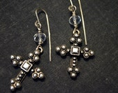 Byzantine cross dangle earrings with faceted glass accents and Argentium stering earwires