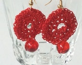 Red Crocheted and Beaded Earrings