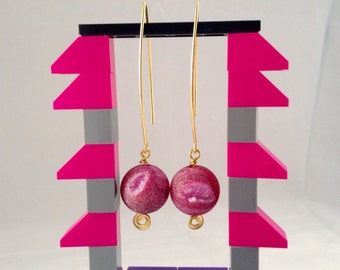 Pink Druzy Agate Orbs on Gold