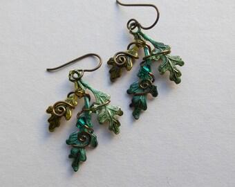 Oak Leaves Earrings -- Green Oak Leaf Earrings, Brass Wire Spirals, Swarovski Crystals -- Hand Inked Brass