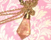VIntage Cherry Quartz Crystal Wire Wrapped Pendant on Gold Chain Necklace