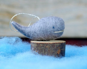 Little Grey Whale - Needle Felted Nautical Christmas Ornament
