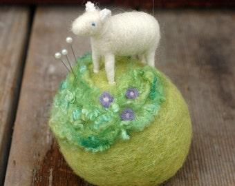 Mini Sheep on a Meadow - Needle Felted Pincushion with Lavender Flowers