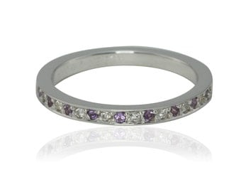 Birthstone Ring, Amethyst and Diamond Half Eternity Pave Band - Wedding Band or Stacking Ring - LS2008