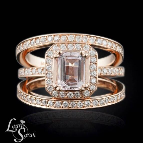 Morganite Ring, Rose Gold Morganite Wedding Set, Morganite Engagement Set, Emerald Cut Morganite Engagement Ring - LS2280