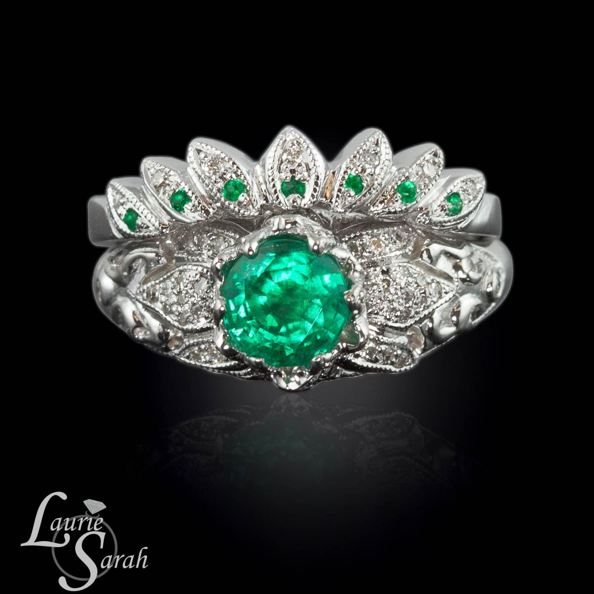 emerald and diamond lotus flower engagement ring and matching. Black Bedroom Furniture Sets. Home Design Ideas