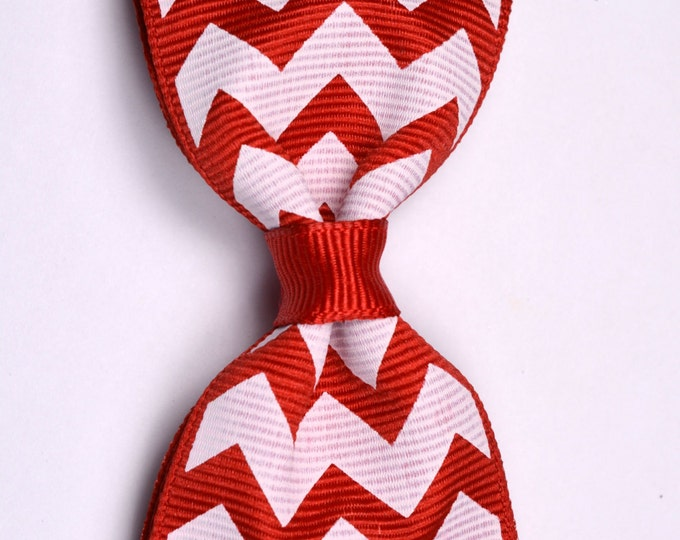 "Red Chevron Tuxedo Bow  ~ 3.5"" Hairbow ~ Small Hair Bow ~ Girls Barrette ~ Toddler Bow ~ Baby Hair Bow ~ Hair Clip ~ Girls Hair Bow"