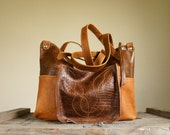NEW/// Oxford Tote///Embossed Alligator and Camel Brown Leather